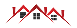 Rooftop logo. Three roofs, each with windows.